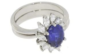 Sapphire And Diamond Cluster With Matching Platinum Contouring Wedding Band - Portfolio
