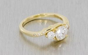 Three Stone Bypass Engagement Ring - Portfolio