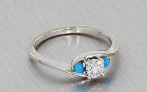 Three Stone Engagement Ring with Cabochon Turquoise Side Stones
