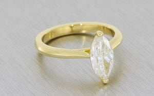 Yellow Gold Marquise Moissonite Soliatire