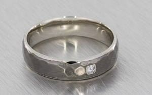 Hammered Men's Contemporary Wedding Band With A Bezel Set Asscher Cut Diamond