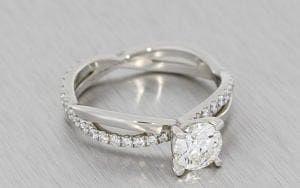 Platinum and diamond crossover engagement ring