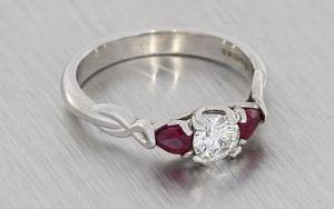 Beautiful Ruby And Diamond Three Stone Ring