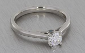 Platinum Single Stone With Blue Diamond Peak Stones