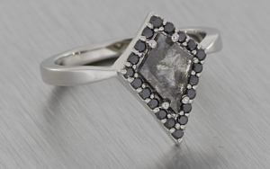 Platinum Kite Ring with Rose Cut Diamond and Black Halo