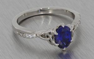 Oval sapphire and palladium ring