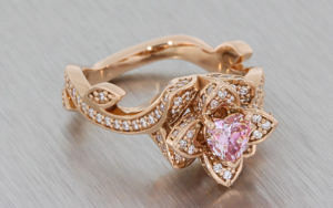 14ct Rose gold floral ring set with moissonite and pink CZ
