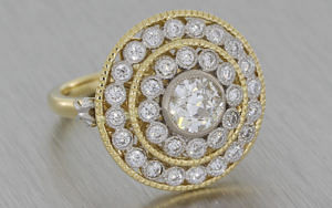 Antique Inspired Multi Halo Engagement Ring
