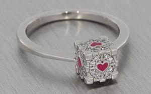 Platinum 'Companion Cube' inspired engagement ring