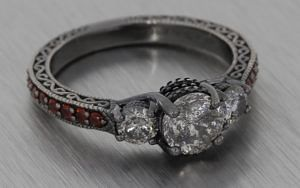 18K Salt and pepper diamond ring set with red garnets