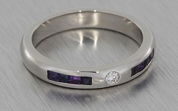 His Hers Palladium Wedding Bands Set With Diamonds Sapphires