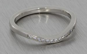 Palladium Diamond Set Band Contoured to Fit the Engagement Ring