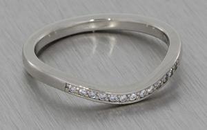 Palladium Diamond Set Band Contoured to Fit the Engagement Ring