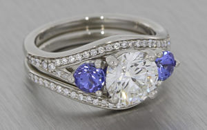 Platinum Engagement and Wedding Ring set with Diamonds and Tanzanites