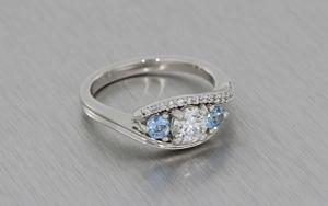 Three Stone Aquamarine & Diamond Platinum Ring