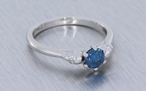Teal Diamond Skull Engagement Ring