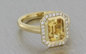 14ct yellow gold citrine ring with round moissanite