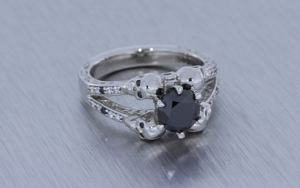 Black Diamond Skull Engagement Ring