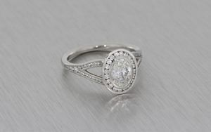 Oval Halo Platinum Diamond Ring