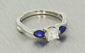Square radiant diamond trilogy ring