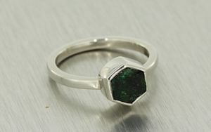 Organic Engagement Ring featuring a Rough Emerald